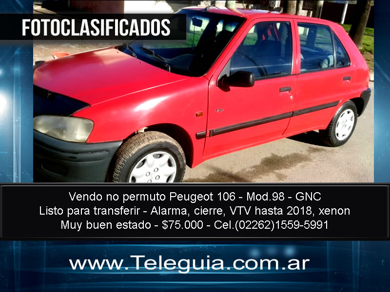 Vendo no permuto Peugeot 106 - Mod.98 - GNC - Listo para transferir - Alarma, cierre, VTV hasta 2018, xenon - Muy buen estado - $75.000 - Cel.(02262)1559-5991